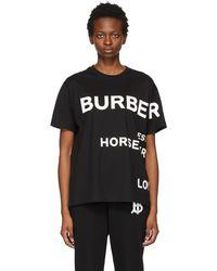 Burberry - ブラック オーバーサイズ Horseferry T シャツ - Lyst