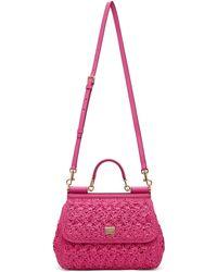 Dolce & Gabbana Moyen sac Sicily rose en raphia