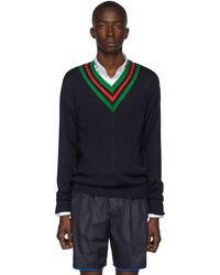 Gucci - ネイビー ウール ウェブ V ネック セーター - Lyst