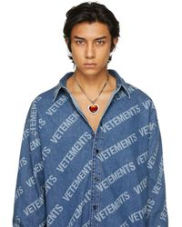 Vetements Silver & Red Crystal Heart Necklace - Multicolor