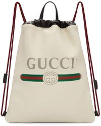 Gucci - White Small Logo Drawstring Backpack - Lyst