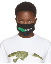 Palm Angels - ブラック And グリーン スプレー ロゴ マスク - Lyst