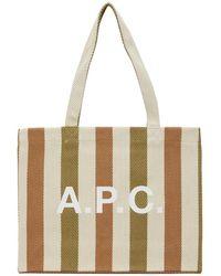 A.P.C. - ベージュ ストライプ Diane ショッピング トート - Lyst