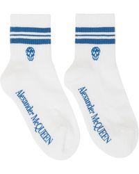 Alexander McQueen ホワイト & ブルー Skull スポーツ ソックス