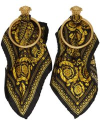 Versace Black And Gold Barocco Scarf Medusa Hoop Earrings