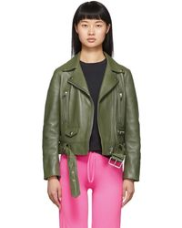 Acne Studios - Green Leather Motorcycle Jacket - Lyst