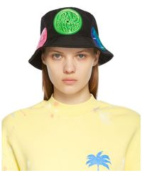 Palm Angels Black Pa Record Patched Hat - Multicolor