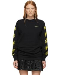Off-White c/o Virgil Abloh Ssense Exclusive Black And Yellow Acrylic Arrows Long Sleeve T-shirt