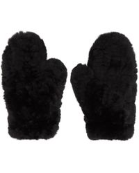 Yves Salomon - Black Fur & Leather Mittens - Lyst