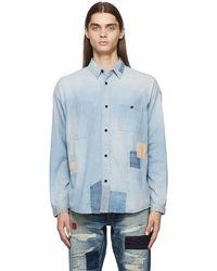 FDMTL Boro 3yr Wash Patchwork Denim Shirt - Blue