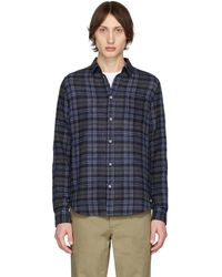 Norse Projects Navy Gauze Check Osvald Shirt - Blue