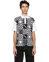 Rassvet (PACCBET) ブラック And ホワイト ロゴ パターン ポロシャツ