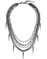 Junya Watanabe ガンメタル Multi Spike チェーン ネックレス - ブラック