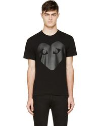 Play Comme des Garçons - Black & Carbon Glossy Heart Logo T-shirt - Lyst