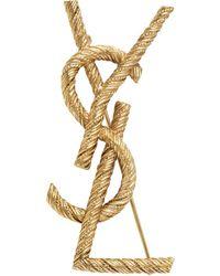 Saint Laurent Gold Rope Opyum Brooch - Metallic