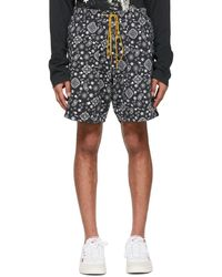 Rhude Ssense Exclusive Black Bandana Shorts - Gray