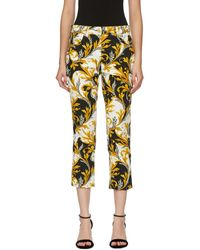 Versace Black And White Barocco Print Jeans - Yellow