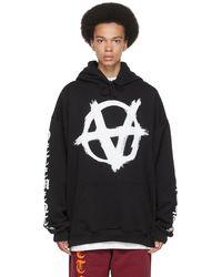 Vetements ブラック Anarchy Gothic ロゴ フーディ