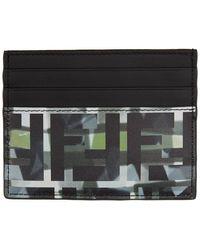Fendi Porte-cartes a motif camouflage noir et vert Forever