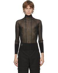 Dion Lee Black Opacity Pleat Long Sleeve T-shirt