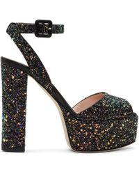 Giuseppe Zanotti - Ssense Exclusive Black Glitter Lavinia Platform Sandals - Lyst