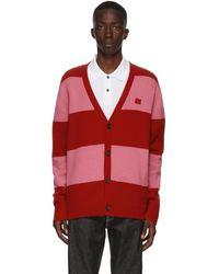 Acne Studios Cardigan rouge et rose Block Stripe