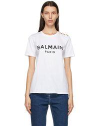 Balmain - ホワイト And ブラック ロゴ T シャツ - Lyst