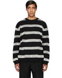 Juun.J ブラック & ホワイト ストライプ セーター