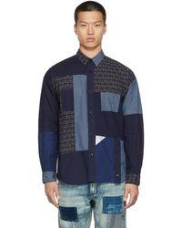 FDMTL Boro Patchwork Shirt - Blue
