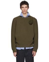 JW Anderson - Khaki Bunny Brooch Crewneck Sweater - Lyst