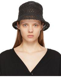 Y's Yohji Yamamoto Gray Paper Woven Bucket Hat - Black