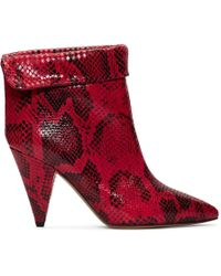 Isabel Marant - 90mm Lisbo Python Printed Leather Boots - Lyst