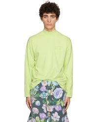 Martine Rose T-shirt à manches longues vert à logo et col cheminée