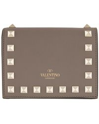 Valentino Grey Garavani Rockstud Flat French Wallet - Gray