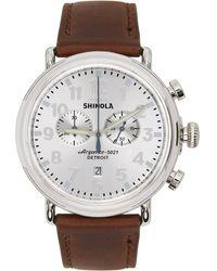 Shinola シルバー And ブラウン The Runwell 47mm ウォッチ - メタリック