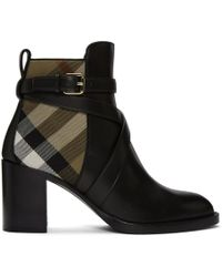 Burberry - Black And Beige Check Vaughan 70 Ankle Boots - Lyst