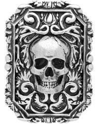 Alexander McQueen Silver Brass Skull Brooch - Metallic