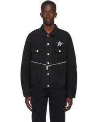 we11done ブラック デニム Wd ロゴ ジッパー ジャケット