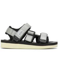 Suicoke Gray And Black Kisee-v Sandals