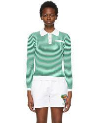 CASABLANCA グリーン & ホワイト Grandpa Tennis ロング スリーブ ポロシャツ