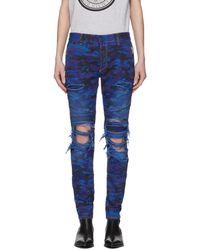 Balmain - Blue Camo Slim Jeans - Lyst