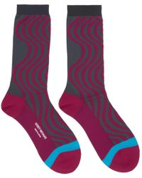 Issey Miyake - Pink And Grey Chromatic Wave Socks - Lyst
