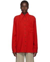 Kwaidan Editions レッド フルイド ウール 70s カラー シャツ