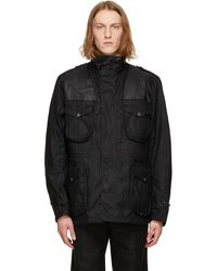 Barbour ブラック Supa-corbridge ワックス ジャケット