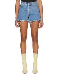 Off-White c/o Virgil Abloh - Blue Denim Diagonal Flower Shop Shorts - Lyst