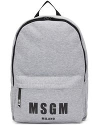 MSGM - Grey Logo Jersey Backpack - Lyst