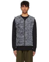 Y-3 Black Down Distressed Reflective Light Liner Vest