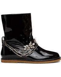 Loewe ブラック パテント チェーン ブーツ