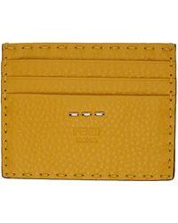 Fendi Porte-cartes jaune Selleria