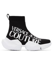 Versace Jeans Couture ブラック Fragmented Sole ロゴ スニーカー